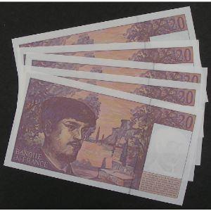 Lot de 5 x 20 Francs Debussy 1997, L.052, SPL
