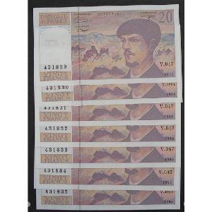 Lot de 7 x 20 Francs Debussy 1995, V.047, SPL