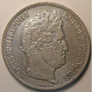 Louis-Philippe I, 5 Francs 1833 MA , KM# 749.10, TTB/TTB+