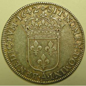 Louis XIII, 1/2 Ecu 1642 A, TTB/TTB+, Gad: 49