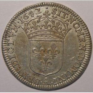 Louis XIII, 1/4 Ecu 1642 A Paris point, Gadoury: 47, TTB/TTB+