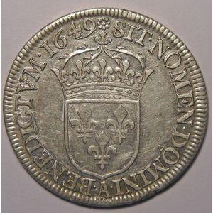 Louis XIV, 1/2 Ecu à la mèche longue 1649 A Paris, Gadoury 169, TTB+/SUP