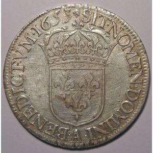 Louis XIV, Ecu à la mèche longue 1653 A Paris, Gadoury 202, TTB/TTB+