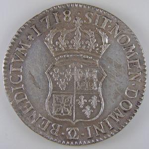Louis XIV, Ecu de France-Navarre 1718 Besançon, Gadoury 318, TTB+/SUP