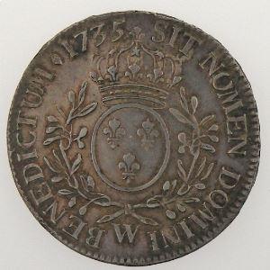 LOUIS XV, Ecu aux br. d'olivier 1735 W, KM# 486.22, TTB+/SUP