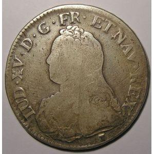 Louis XV, Ecu aux branches d'olivier 1733 9 Rennes, TB, Gadoury: 321