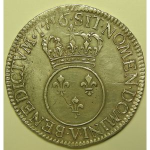 Louis XV, Ecu Vertugadin 1716 V, TTB, Gad: 317