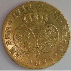 Louis XV, Louis d'or aux lunettes 1739 Q Perpignan, TTB, Gadoury: 340