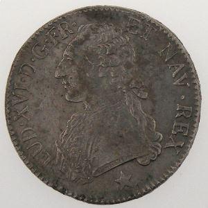 LOUIS XVI, Ecu aux br. d'olivier 1790 MA, KM# 564.11, TTB+/SUP