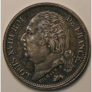 Louis XVIII, 1/2 Franc 1824 A, SPL, KM# 708.1