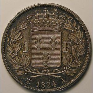 Louis XVIII, 1 Franc 1824 A, SUP+, KM# 709.1