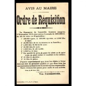 LUNEVILLE - Avis au Maire - Ordre de Réquisition
