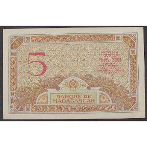 Madagascar, 5 Francs ND 1937, VF+