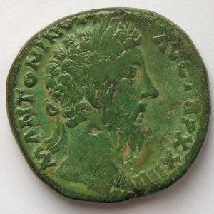 Marc Aurèle, Marcus Aurelius, Sesterce, R/ SALVTI AVG COS III SC, TB