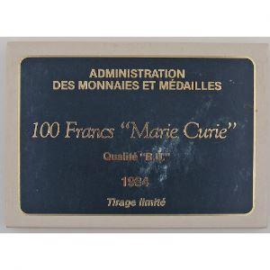 Marie Curie, 100 Francs 1984, BU argent, KM# 955
