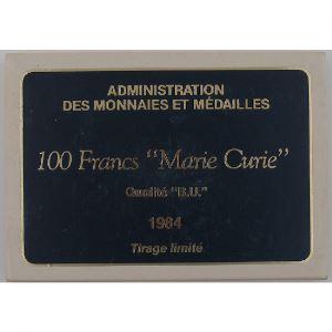Marie Curie , 100 Francs 1984, BU argent, KM#955