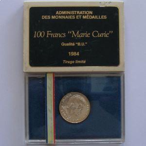 Marie Curie, 100 Francs 1984, BU argent, KM#955