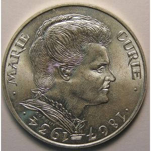 Marie Curie, 100 Francs 1984, SUP+, KM# 955