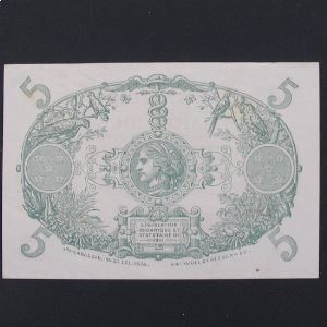 Martinique, 5 Francs 1945, VF+/XF