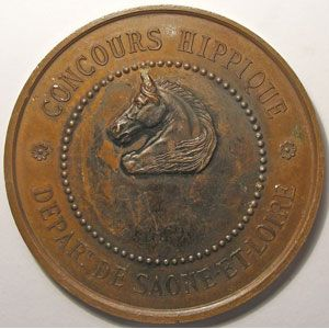Médaille Hippique, Saône et Loire, Signé: Oudiné, diamètre 50 mm, cuivre
