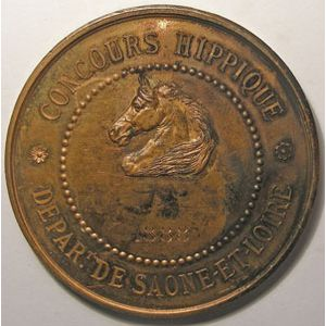 Médaille Hippique, Saône et Loire, Signé: Oudiné, diamètre: 50mm, bronze