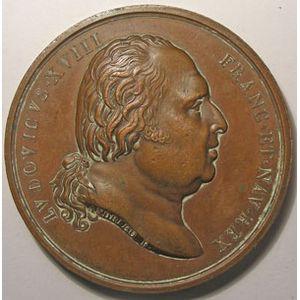 Médaille Louis XVIII, 2ème entrée du Roi à Paris, Signé: Andrieu F. et Gayrard F., diamètre 49 mm