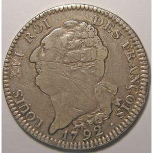 Monnaie de la Révolution, Constitution, Louis XVI, Ecu 1792 A Paris 2ème Semestre, TB+