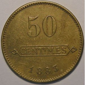 Monnaie de nécessité, Longwy, Aciéries de Longwy, 50 centimes 1883, TTB, Elie: 10.3
