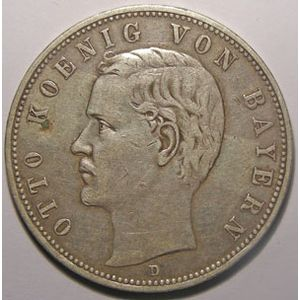 Monnaie étrangère, Allemagne, Germany, Empire Allemand, Bayern, 5 Mark 1907 D, TB+, AKS# 201