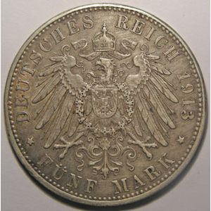 Monnaie étrangère, Allemagne, Germany, Empire Allemand, Bayern, 5 Mark 1913 D, TB+/TTB, AKS# 201