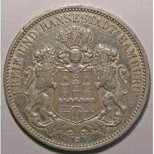Monnaie étrangère, Allemagne, Germany, Empire Allemand, Hamburg, 3 Mark 1910 J, TTB/TTB+, AKS# 46