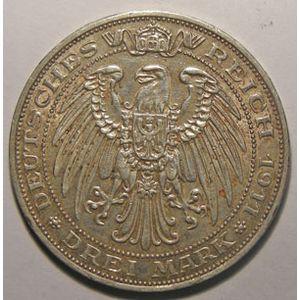 Monnaie étrangère, Allemagne, Germany, Empire Allemand, Preussen, 3 Mark 1911 A, TTB/TTB+, AKS# 138