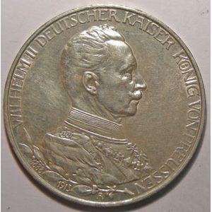 Monnaie étrangère, Allemagne, Germany, Empire Allemand, Preussen, 3 Mark 1913 A, TTB+/SUP Chocs sur la tranche, AKS# 535