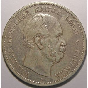 Monnaie étrangère, Allemagne, Germany, Empire Allemand, Preussen, 5 Mark 1876 B, TB+/TTB, AKS# 114