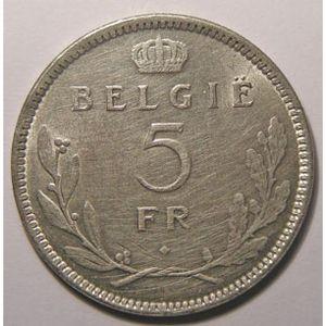Monnaie étrangère, Belgique, Belgium, 5 Francs 1936, TTB+, KM# 109