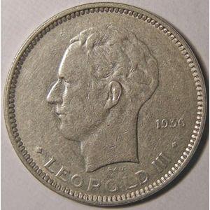 Monnaie étrangère, Belgique, Belgium, 5 Francs 1936