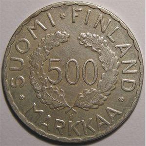 Monnaie étrangère, Finlande, Finland, 500 Markkaa 1952 H