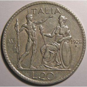 Monnaie étrangère, Italie, Italy, 20 Lire 1828 R
