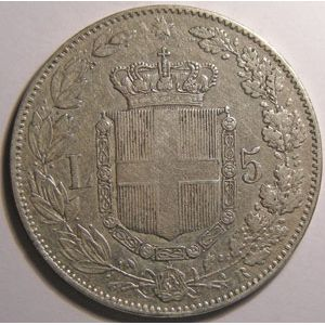 Monnaie étrangère, Italie, Italy, 5 Lire 1879 R