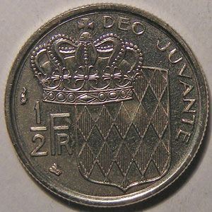 Monnaie étrangère, Monaco, Rainier III, 1/2 Franc 1995
