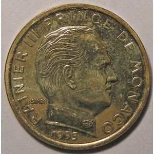 Monnaie étrangère, Monaco, Rainier III, 10 centimes 1995
