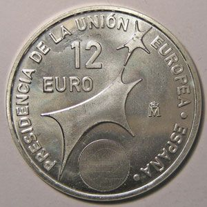 Monnaie Euro, Espagne, Spain, Juan Carlos I, 12 Euro 2002