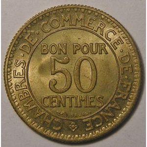 Monnaie française, chambre de commerce, 50 centimes 1922, SUP, Gadoury: 421