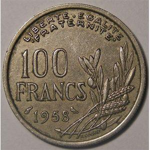 Monnaie Française, cochet, 100 Francs 1958 Chouette