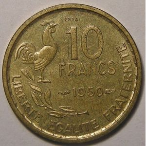 Monnaie française, Essai de Guiraud 10 Francs 1950 SPL/FDC, Gadoury: 182.5