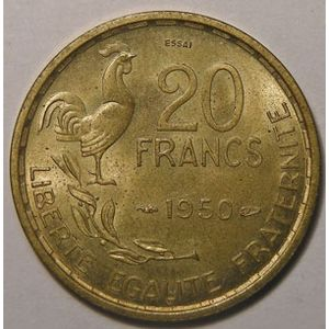 Monnaie française, Essai de Guiraud 20 Francs 1950 SPL/FDC, Gadoury: 211.1