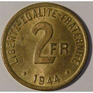 Monnaie française, France libre, 2 Francs, 1944
