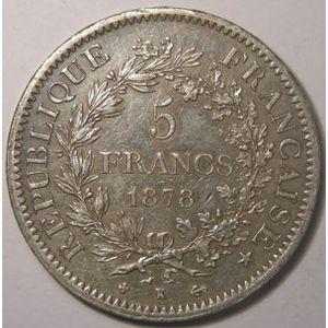 Monnaie Française, Hercule, 5 Francs 1878 K Bordeaux, TTB, Gadoury: 745a