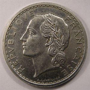 Monnaie française, Lavrillier nickel, 5 francs, 1937