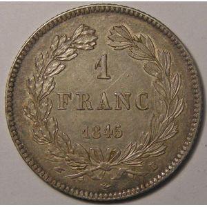Monnaie Française, Louis-Philippe I, 1 Franc 1845 B Rouen, TTB+/SUP, Gadoury: 453
